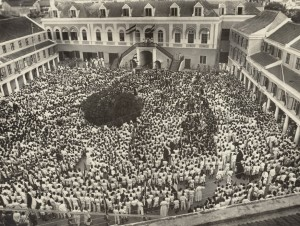 Aubade in Fort Amsterdam, Willemstad, bij gelegenheid van bezoek prinses Juliana in 1944.